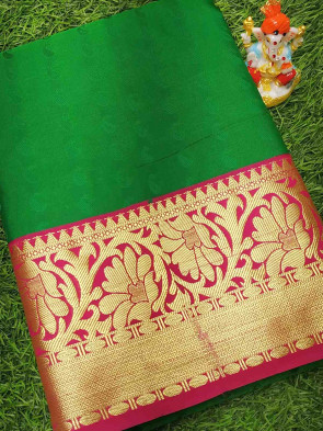 Art silk saree comes with over all body mango embose design with multi design gold long border
