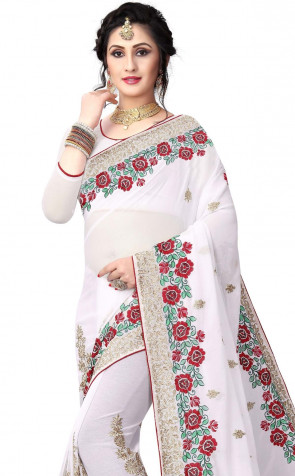 Sudarshan New Georgette Fancy Brocket MULTI  RESHAM & JARI EMBROIDERY WORK WITH HEAVY  JARI  BORDER