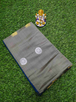 Soft mix silk saree comes with over all body big flower gold and silver buta half and half saree with big gold border