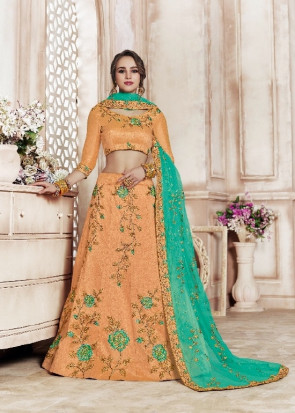 Wedding and Festival collection  Semi Stitiched Lehenga with Unstitiched choli - ( OLIVIA )