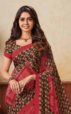 Synthetic Soft Crape  Printed saree with Blouse piece