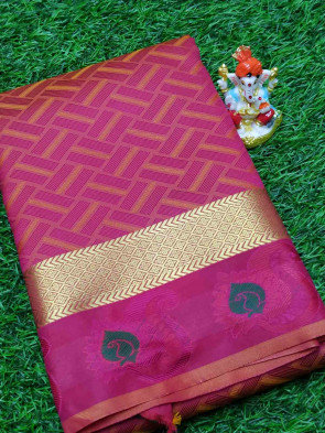 Art silk saree comes with over all body square shape design with gold flower mango butta border