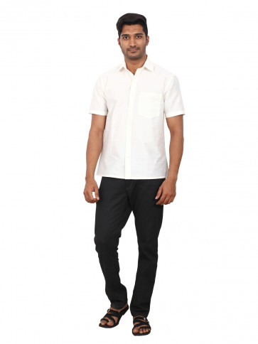 ELLOWS NEW DESIGNER SHIRT-White-ELLOWS102-MN-Dupion Silk