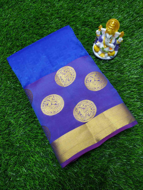 Silk saree comes with over all body checks small flower design and round peacock butta with gold jari border Saree