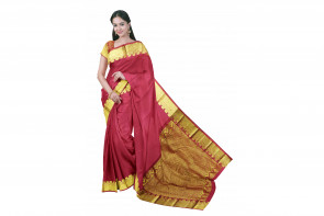 Pure kadial silk saree comes with over all body plain design with gold multi design border