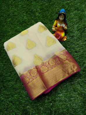 Chiffon georgette sarees comes with leaf butta body , flower and gatti gold border