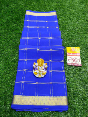 Mysore silk saree comes with over all body checks design with gold diamond gatti border running blouse piece saree