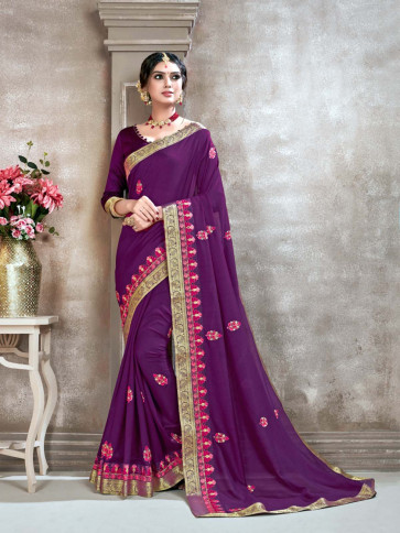 Sudarshan New Purple Poly Silk Embroidered Designer Saree