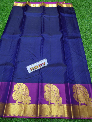 100% Pure silk saree comes with over all body tiny flower embose design with gold mango peacock butta plain border