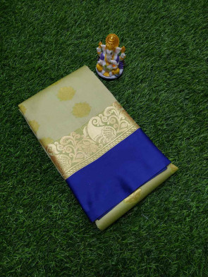 Art silk saree comes with over all body gold flower butta design with gold multi design plain border