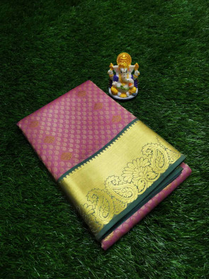 Art silk saree comes with over all body small embose mango and small gold flower butta with big gold flower and mango border