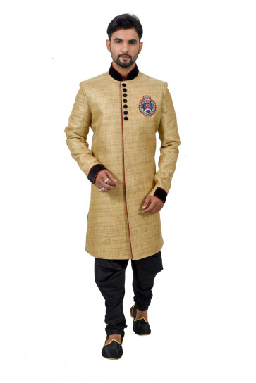 SUDARSHAN NEW DESIGNER INDO WESTERN-Cream-RK1179-MN-Art Silk