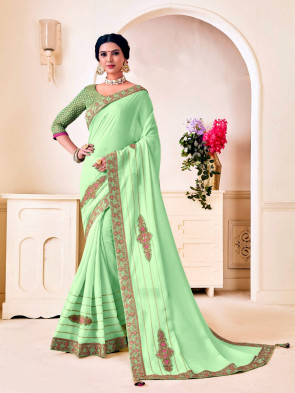 Indian Women Green Poly Silk Embroidered Heavy Work Saree