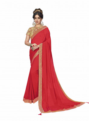SUDARSHAN NEW FLAVOURS Red Poly Silk Jaqcard Border Designer Saree
