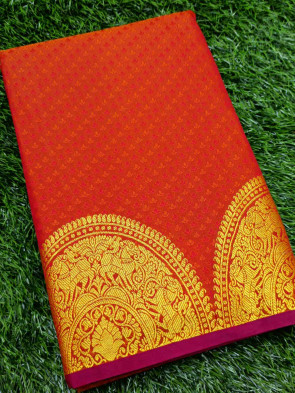 Art silk saree comes with over all body small tiny flower embose design with round big gold multi butta border