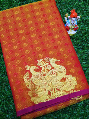 Art silk saree comes with over all body small flower embose with gold peacock butta design and border less saree
