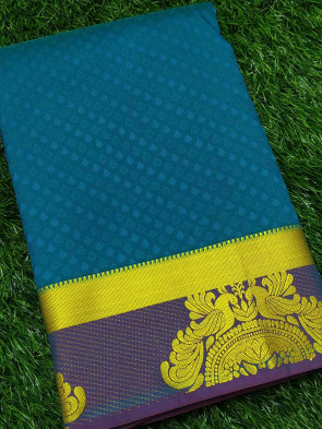 Art silk saree comes with over all body small tiny flower embose design with multi design gold border