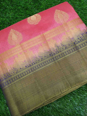 Raw silk saree comes with over all body gold flower butta with multi design and multi colour big scrat border
