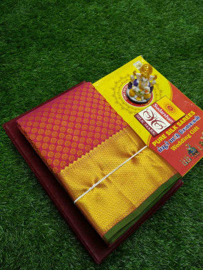 100% Pure kanchipuram  silk saree comes with over all body flowers brocade design with scart jerri big border