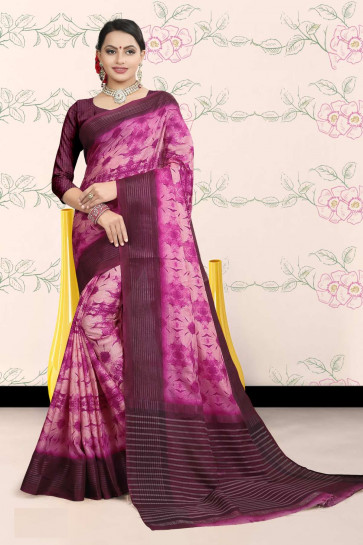 Synthetic Saree Bansi Kiara collection printed  Fancy multi design  butter quality softness design  saree-Pink-MSC7053-VO-Synthetic Chiffon