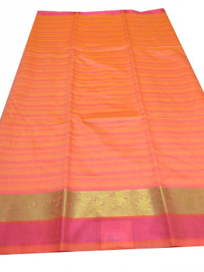 COTTON SAREE OVER ALL BODY COIN BUTTA DESIGN WITH GOLD AND PINK  BORDER.