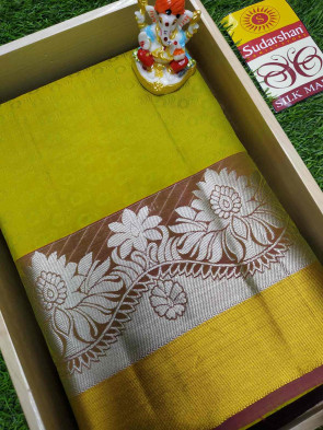 100% Pure Silk Saree comes with over all body round embose and pure silver flower butta with pure gold jeri border