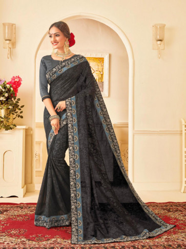 Indian Women Black Poly Silk Embroidered Heavy Work Saree