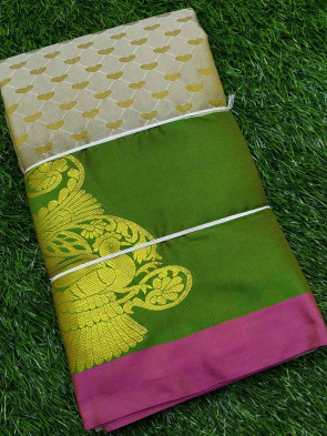 Half silk saree comes with over all body small heart shape embose design with gold multi butta border