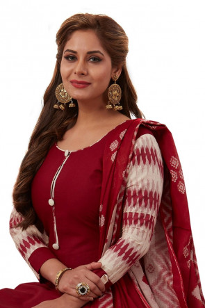 Sudarshan Family Store Ready to wear Cotton printed salwar kameez with plain pant, dupata