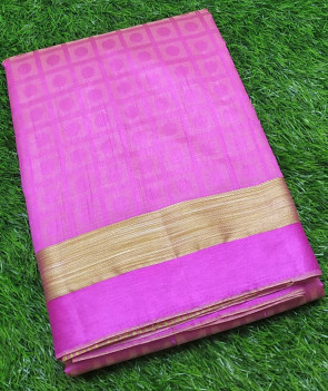 Raw silk saree comes with over all body coin embose design with gold plain border