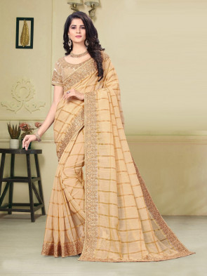 SUDARSHAN NEW  Gold Jute Silk Heavy Embroidered Work Fancy Designer Saree