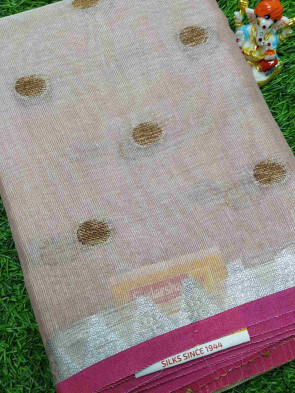 Cotton saree comes with over all body small coin thread butta design with temple border