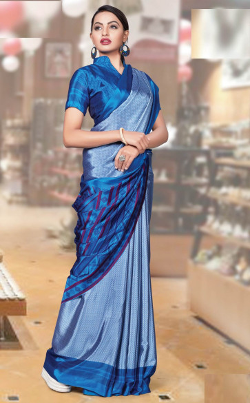 Synthetic Saree Bansi Uniform  naksha collection printed  Fancy multi design  butter quality varies colors design  saree-Blue-MSCC1710-VO-Synthetic Chiffon
