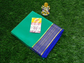 Pure Mysore Silk Crape saree over all plain body with lines  gold and blue border, blue blouse