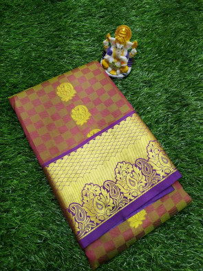 Art silk saree comes with over all body small box with flower butta design and gold multi design border with running blouse saree
