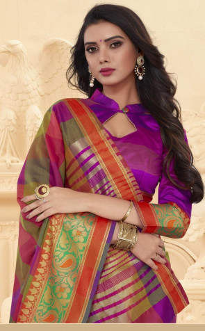 sudarshan Family Store Vipul Checks Boxtyoe Multi color with Contrast color Flower design border running Blouse piece Cotton Saree