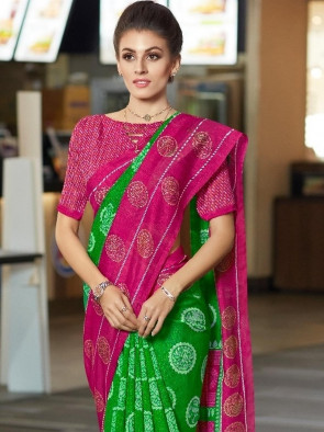 Sudarshan Family Store Synthetic saree comes with over all body printed round butta flowers design uniform saree