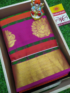 100% Pure silk saree comes with over all body tiny flower embose and gold flower butta design with gold jeri plain border