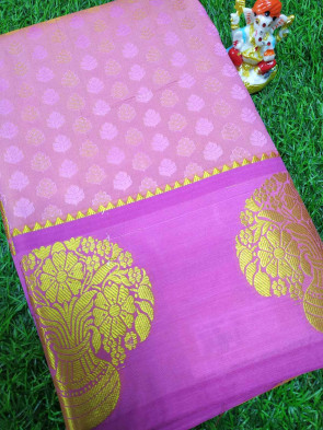 Art silk saree comes with over all body small flower embose design with gold flower phot butta border