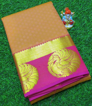 Art silk saree comes with over all body small flower embose design with gold peacock butta border