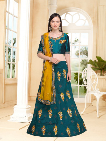 Sudarshan Family Store Wedding and Festival collention  Semi Stitiched Lehenga with Unstitiched choli-Green-NMN4A739-VN-Satin, Satin