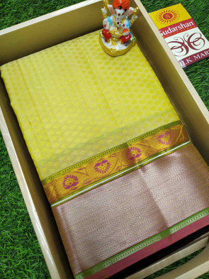 100% Pure silk saree comes with over all body small flower embose design with multi design silver border