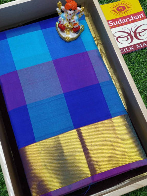 100% Pure silk saree comes with over all body multi color checks design with gold jeri plain border