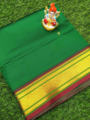 Art silk saree comes with over all body small flower butta design multi design gold border