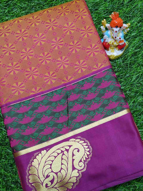 Art silk saree comes with over all body gold flower wheel embose design with gold mango butta border