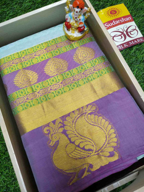 100% Pure silk saree comes with over all body small flower butta design with multi design gold jeri border