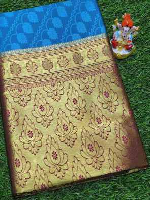 Art silk saree comes with over all body flower embose design with gold lines border