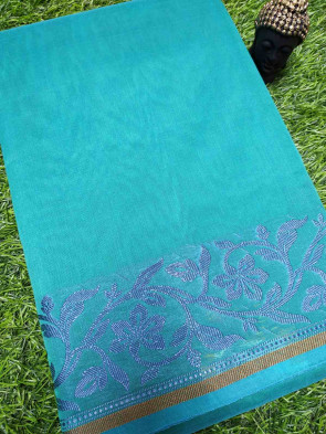 Cotton saree comes with over all body plain design with thread flower butta border