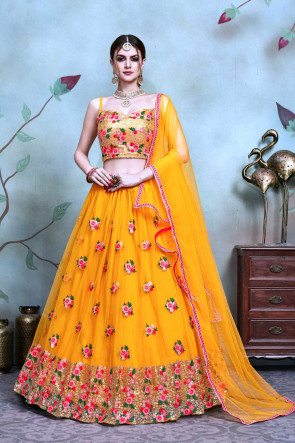 NEW Wedding and Festival Semi Stitched Lehenga with Soft Net Duptta