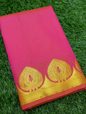 Art silk saree comes with over all body weaves design with gold tree butta border